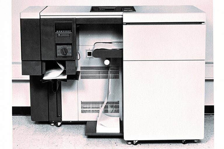 Photo of Hewlett-Packard's first laser printer, the 2680A, in 1980.