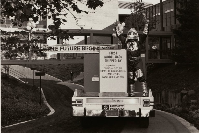 An HP employee in a futuristic costume celebrating the shipment of HP's first Precision Architecture products (Model 840s).
