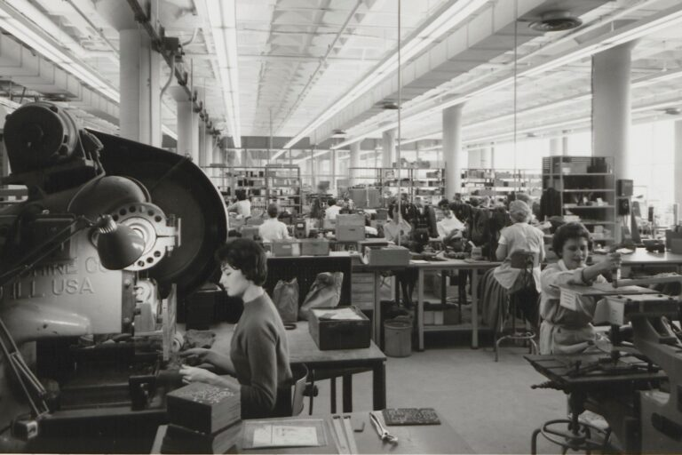 Female employees working at the Palo Alto production facility in the 1950s or 1960s.