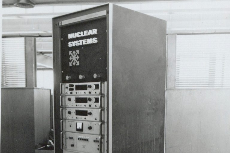 The Dymec nuclear systems console, photographed in 1956.
