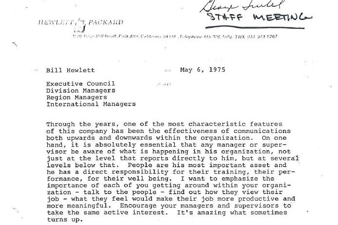 """A letter from Bill Hewlett discussing Hewlett-Packard's """"open door policy"""" and its importance to the company culture."""