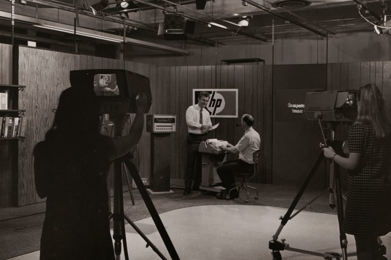 Behind the scenes photo from Hewlett-Packard's HP-TV television studio in the 1960s.