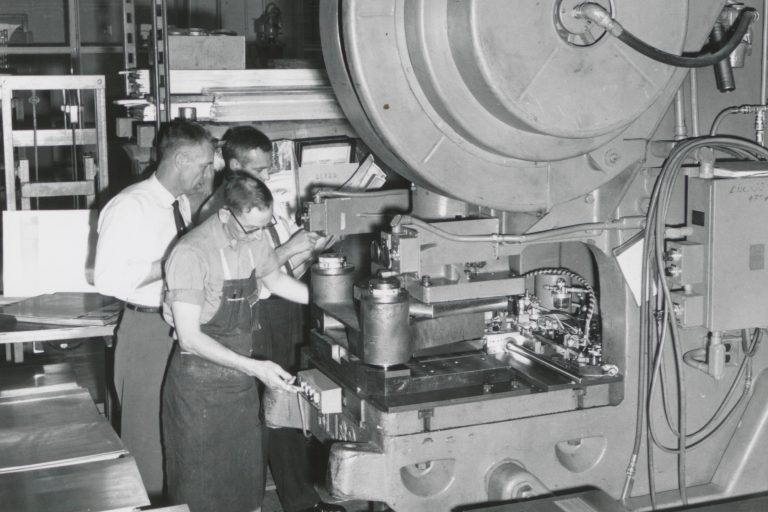 A multi-ton punch press from one of Hewlett-Packard's Page Mill facilities, in use in the 1950s.