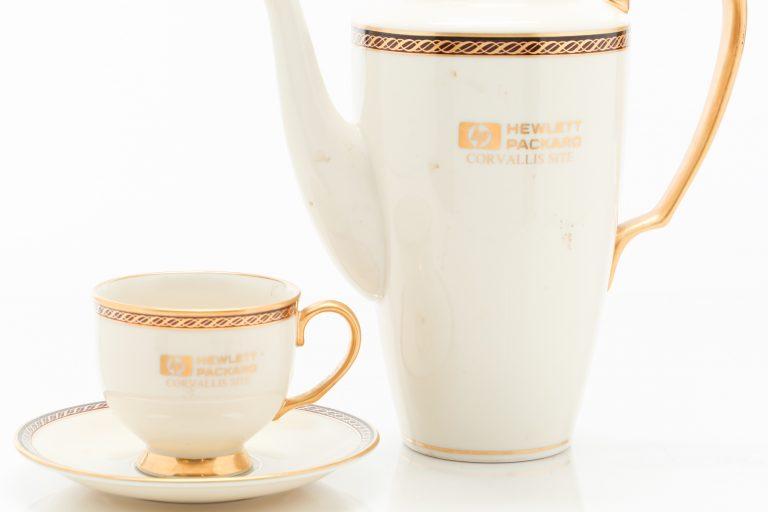 Hewlett -Packard Corvallis teapot and tea cup with gold gilding.