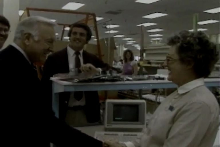 An HP Magazine video segment from 1984 showing CBS news anchor Walter Cronkite touring HP facilities.