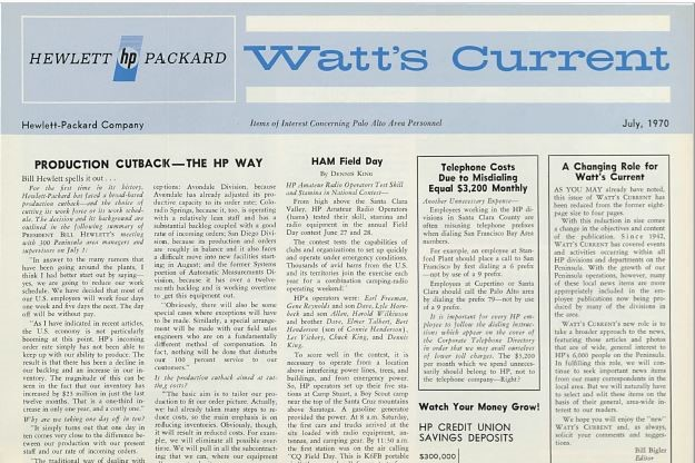 An issue of Watt's Current from July 1970.
