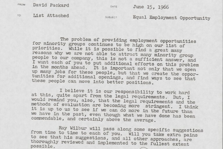 A letter from Dave Packard outlining the need for diversity and inclusion.