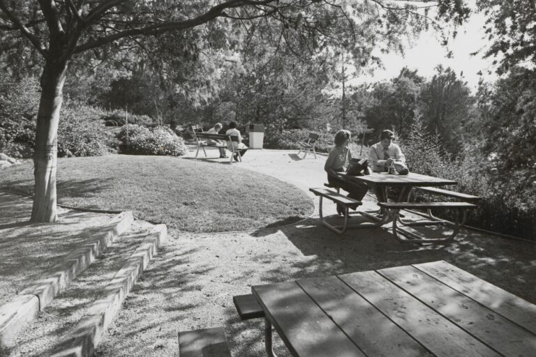 A man and woman seated at a picnic table outdoors.