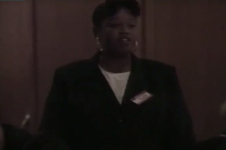 A still from a video on the Black Employees Forum sponsorship of the annual African American Students Day.