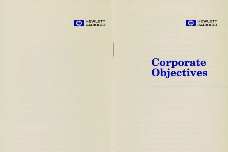 The 1989 HP Corporate Objectives document.