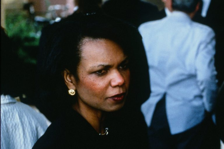 Hewlett-Packard board member Condoleezza Rice in black clothing at Dave Packard's memorial service in 1996.