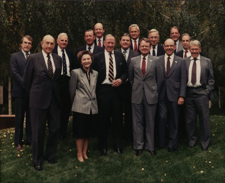 A group portrait of the Hewlett-Packard board of directors in 1986.