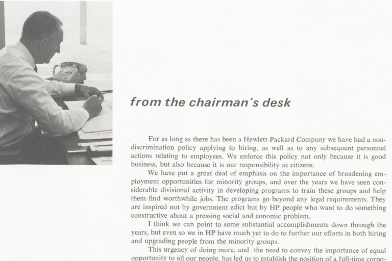 A company announcement from Dave Packard announcing the company's first Equal Opportunities Manager.