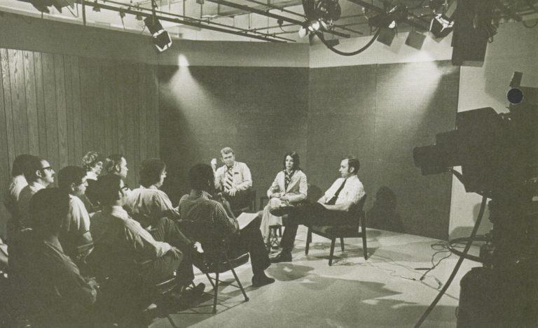 Bill Hewlett, Linda Standley and Paul Ely attending an employee meeting in 1974.
