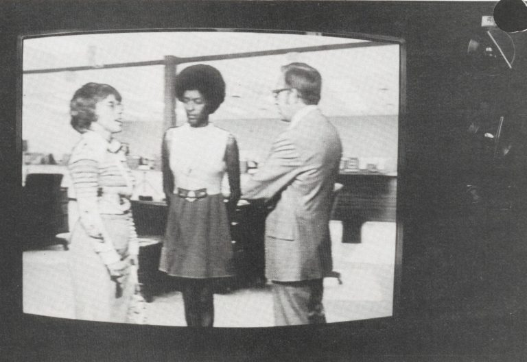 A still photo from a Hewlett-Packard company video on racism and sexism used in the company's equal opportunity workshop.