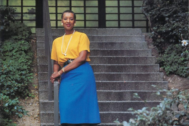 Emily Duncan standing at the bottom of an outdoor staircase in an image dated 1993.