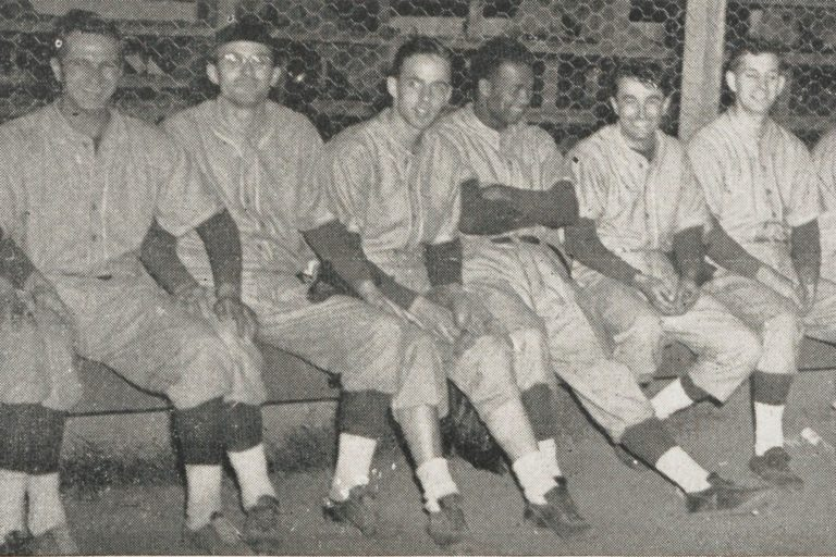 A photo of Willard Jones, HP's earliest-known Black employee, with the rest of the HP softball team in 1946.