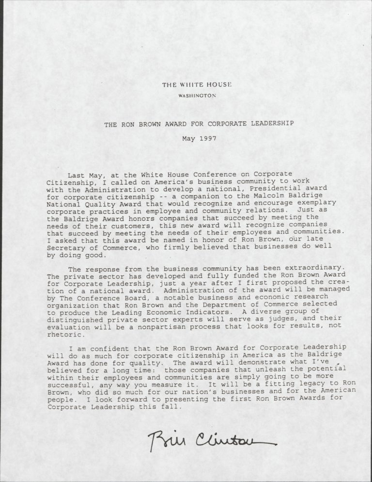 A 1997 letter from then-President Bill Clinton discussing the formation of the Ron Brown Award for Corporate Leadership.