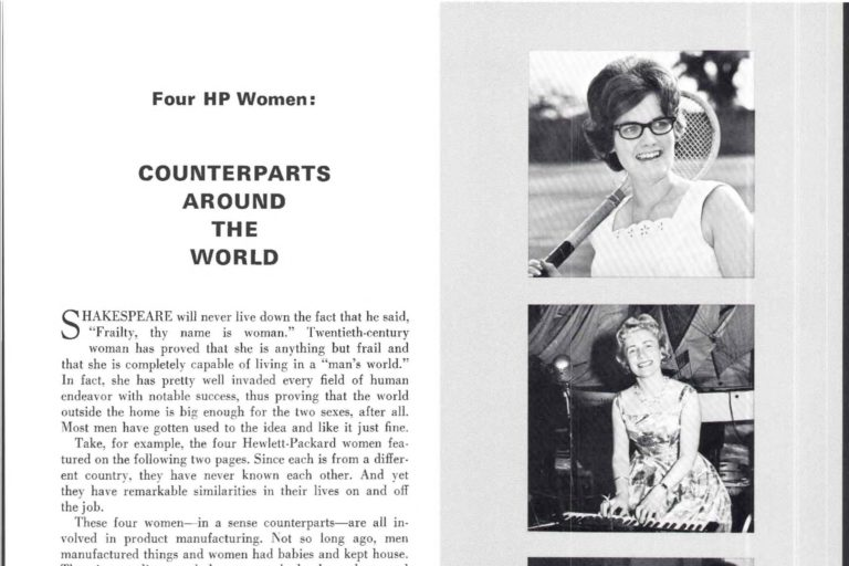 A three-page article entitled Four HP Women: Counterparts Around the World.